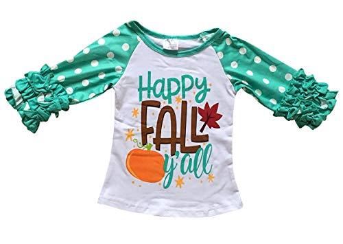 Dreamer P Big Girls' Ruffle Sleeve Thanksgiving Happy Fall T-Shirt Top Tee Kids White 6 XL (P318339P) by Dreamer P (Image #2)