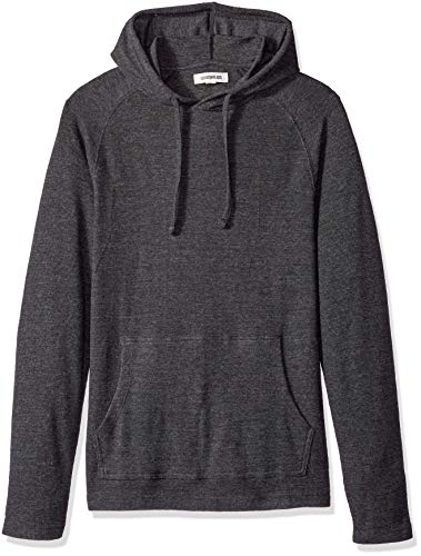 Goodthreads Men's Long-Sleeve Slub Thermal Pullover Hoodie, Heather Charcoal, Small