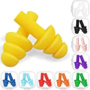 Aniann 10 Pairs Swimming Earplugs Silicone Noise Cancelling Ear plugs Reusable Waterproof Earplugs with Case f