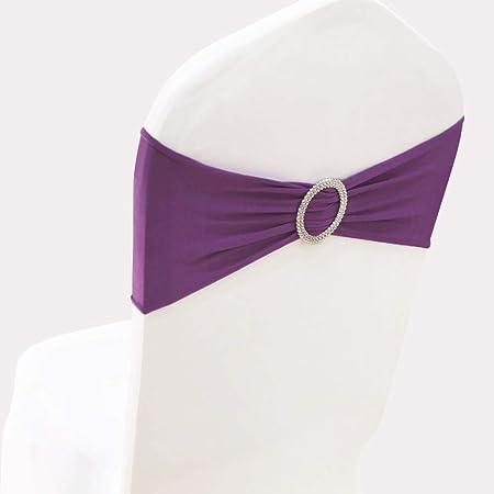 SINSSOWL Bandeau de Chaise élastique à Enfiler avec Boucle pour Mariage nœud de Chaise en Lycra, Violet, 50PC