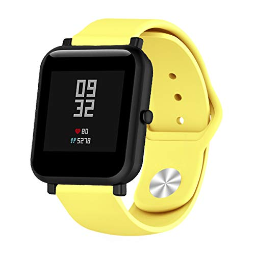 XiangMi Quick Release Soft Silicone Watch Bands for Samsung Gear S3,18mm 20mm 22mm Universal Adjustable Sport Strap for Garmin/Ticwatch/Pebble/Fossil Q/Huawei Smart Watch (Yellow, 22mm)