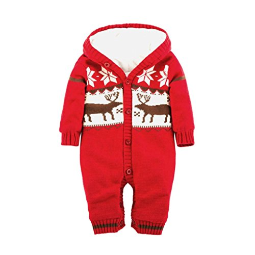 Twelve Cotton Coat (Vicbovo Baby Christmas Clothes Winter Infant Boy Girl Deer Thick Fleece Hooded Sweater Jumpsuit Snowsuit Coat (Red, 12-18M))