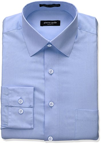 Pierre+Cardin+Men%27s+Slim+Fit+Solid+Broadcloth+Semi+Spread+Collar+Shirt%2C+Ice+Blue%2C+15%22-15.5%22+Neck+34%22-35%22+Sleeve