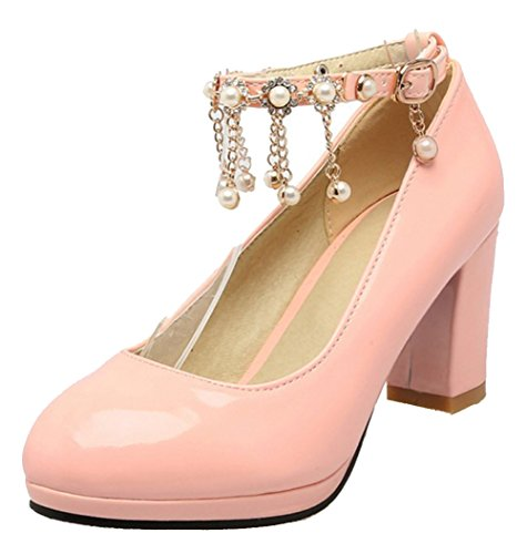 Easemax Womens Elegant Ankle Buckle Strap Chains Beaded Round Toe Mid Chunky Heel Pumps Shoes Pink qNgNrK