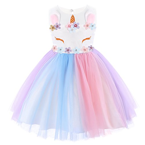 FYMNSI Baby Girls Unicorn Rainbow Party Dress Toddler Sleeveless Princess Birthday Wedding Dress Halloween Dressing Up Costumes 18 Months ()