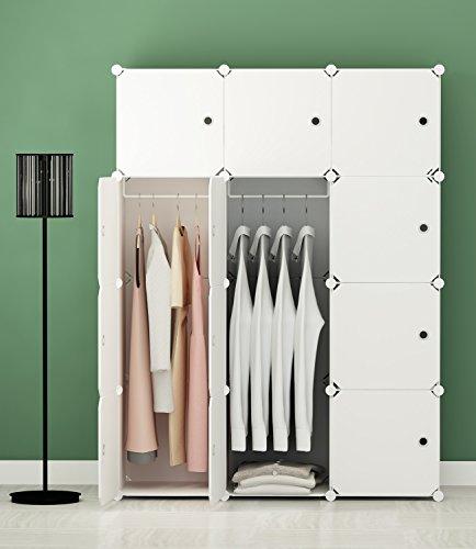 KOUSI Portable Clothes Closet Wardrobe Bedroom Armoire Storage Organizer with Doors, Capacious & Sturdy. 12 cube White (Bedroom Closets Doors)