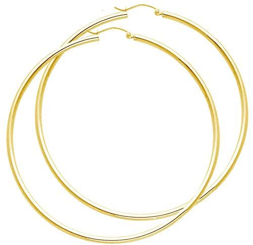 14k Yellow Italian Gold 2mm Thickness Classic Shiny Polished Round Hinged Hoop Earrings 2 Inches Diameter ()