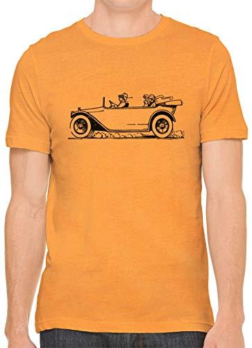 Austin Ink Apparel Speeding Old Convertible Cotton Crewneck Unisex Mens Fitted T-Shirt Orange XL