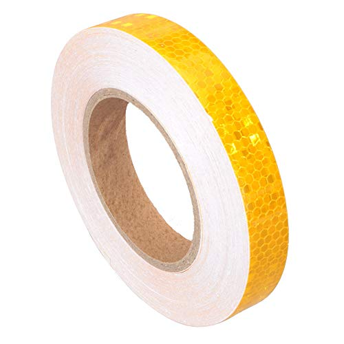 Golden Reflective Tape 2cm x25m Automotive Pinstriping Tape Safety Reflectors Bumper Stickers Decals Diamond Grade car Truck Road Safety Warning (Golden)