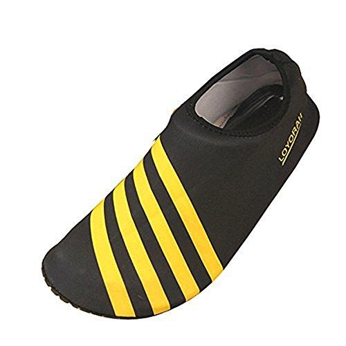 Aqua Water Sports Socks Skin Shoes For Beach Fitness Yoga Scuba Running Gym Yellow-black