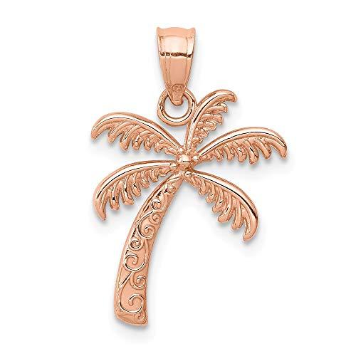 (14K Rose Polished Palm Tree Pendant)