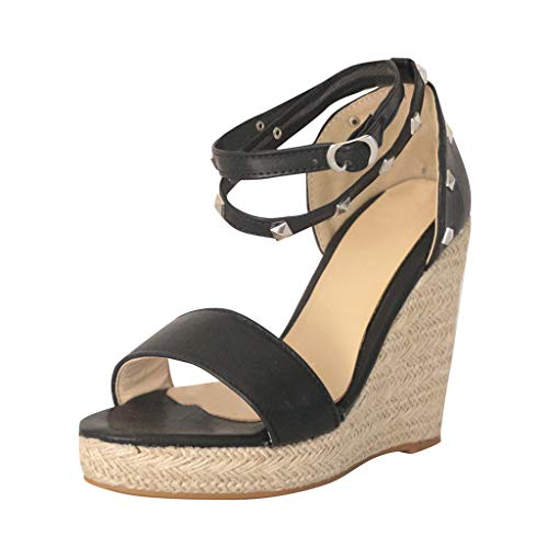 Womens Retro Open Toe Wedges Flats Shoes Ladies Leather Peep Toe Cross Tied Platform Roman Sandals Plus Size 5-9 (Black, US:5.5)