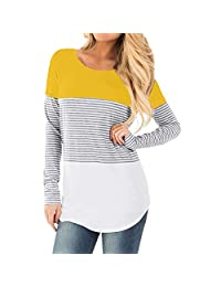Aritone Womens Pregnant Long Sleeve Striped Blouse Maternity Layered Nursing Tunic Tops for Breastfeeding