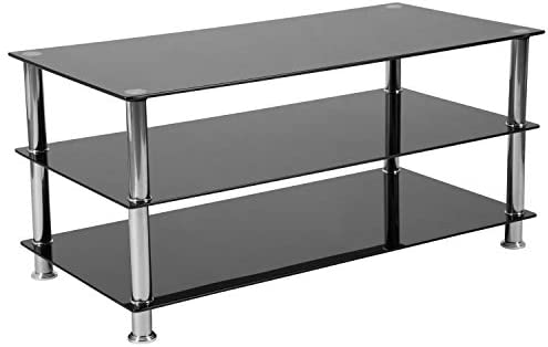Flash Furniture Riverside Collection Black Glass TV Stand