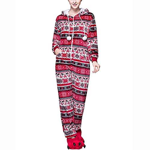 Womens Flannel One-Piece Pajamas Adult Super Soft Plaid Snowflake Comfy Sleepwear Ladies Jumpsuit Red