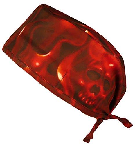 Mens and Womens Medical Scrub Cap - Ghost Skulls/Red