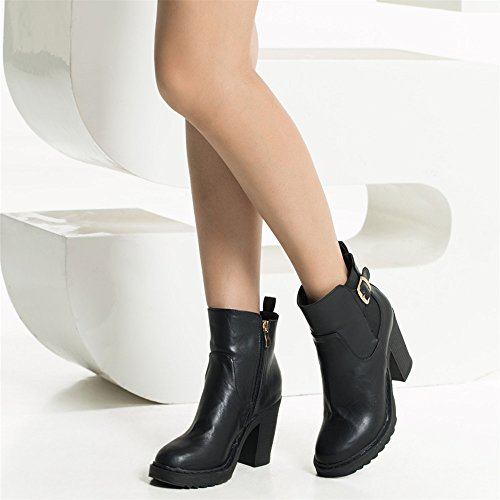 Zipper Chelsea Boots Shoes Block Heels Pu Womens Ankle Platform Black Buckle Laras wa8HB
