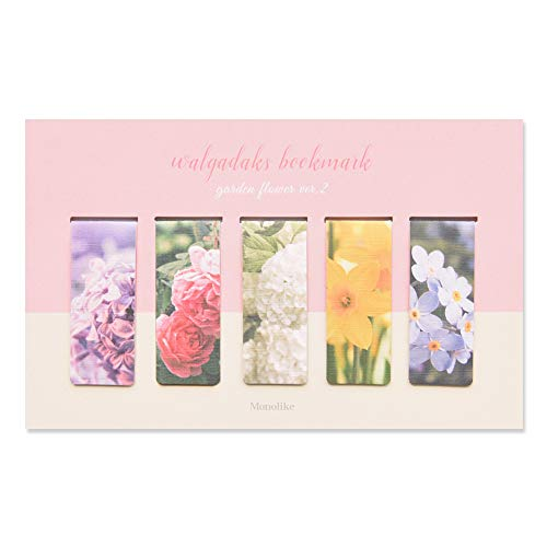 Monolike Magnetic Bookmarks Garden Flower ver.2, Set of 5 (Flower Bookmarks Magnetic)