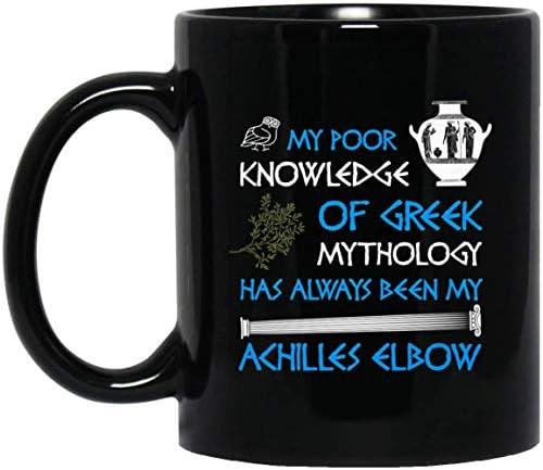 Funny Greek Mythology Achilles Elbow Olives Owl Vase 11 oz. Black Mug