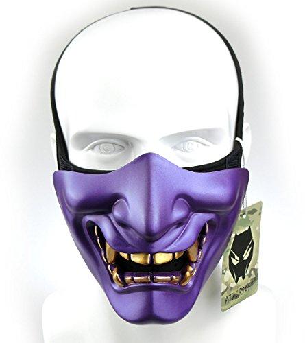[ATAIRSOFT Halloween Costume Cosplay BB Gun Evil Demon Monster Kabuki Samurai Hannya Oni Half Cover Airsoft and Prop Mask (Purple)] (Kabuki Costume)