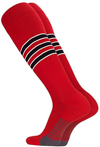 TCK Performance Baseball/Softball Socks (Scarlet/White/Black, Small)