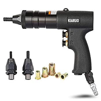 Image of KIARUO Pneumatic Rivet Nut Gun with Self-locking Head Gun,Quick-Change 1/4 & 5/16 & 3/8 Mandrels,Industrial Grade Adjustable Speed Pull Nut Gun Tool Home Improvements
