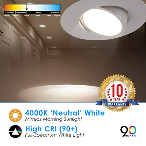 5/6'' inch LED Gimbal Adjustable Rotating Downlight White Trim 16.5W= (100w Equivalent) Damp Location Rated; 25,000 Life Hours; Dimmable to 5%; 5 YR Warranty; 1200 Lumens; Cool White 4000K- (16 Pack) by QUEST MANUFACTURING (Image #2)