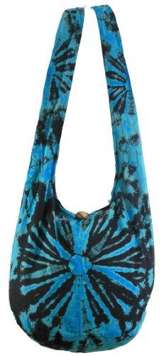 Blue Tie-Dye Cotton Bohemian Hippie Hobo Boho Sling Shoulder Crossbody Bag Handbag Purse HT52