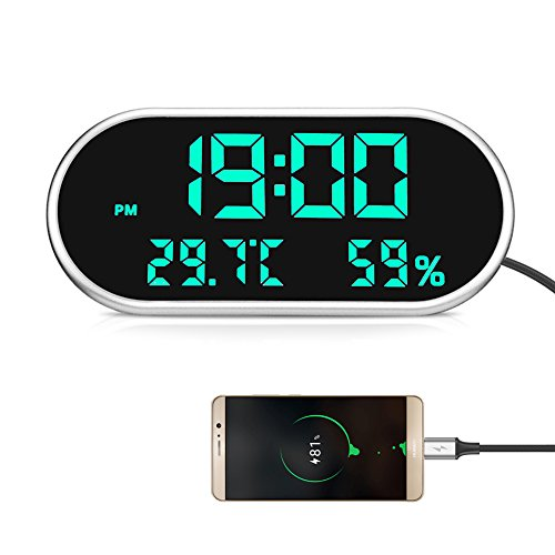 VST Modern Green Digital Alarm Clocks,Dual USB Port for Charging,Decent Desk Clock Living Room with Temperature Humidity,Auto Brightness Adjustment by VST