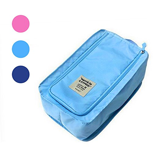 Buruis Portable Travel Shoe Bag, Lightweright Luggage Shoe Bag Organizer Pouch with Mesh Pocket - (Blue)) (Bag Tennis Gift)