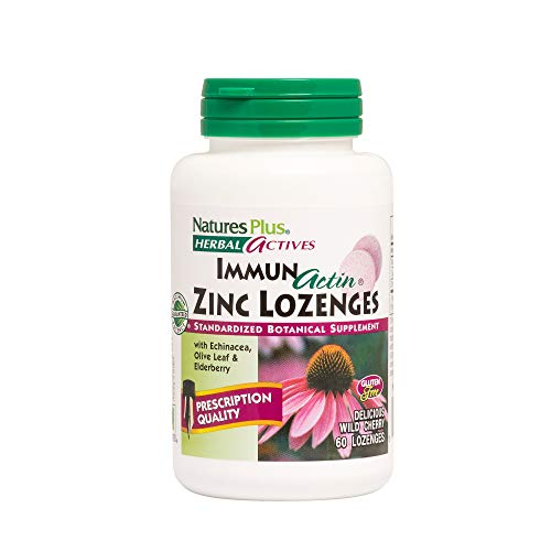 NaturesPlus Herbal Actives ImmunActin Zinc Lozenges - 10 mg Zinc, 60 Vegan Lozenges - Wild Cherry Flavor - Immune Booster with Echinacea & Elderberry - Vegetarian, Gluten-Free - 60 Servings