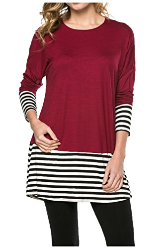 OURS Women's Casual Long Sleeve Round Neck Loose Tunic Black Friday On Sale (S, - Black On Sale Friday