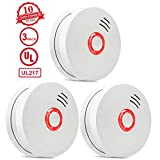 Smoke Detector and Fire Alarm,3 Packs Photoelectric Smoke Alarm with Light Sound Warning