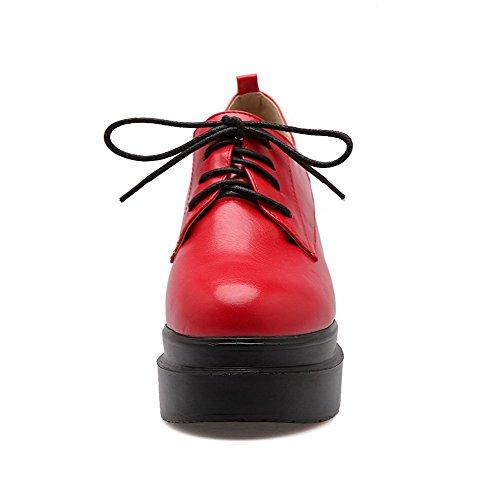 Opp Pumper Hæler Tå Solide sko Pu Blonder Høye Voguezone009 Rundt Kvinners Røde Lukket qwfSOxSvE0