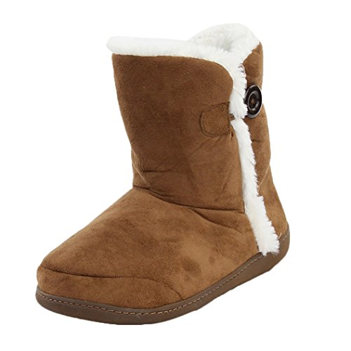 Casa Pantofole Donne Inverno Caldo Accogliente Pile In Memory Foam Pantofole Casa Interna Stivali Marrone