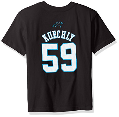 NFL Boys 4-7 Luke Kuechly Carolina Panthers Mainliner Name & Number Short Sleeve Tee, Large/(7), Black