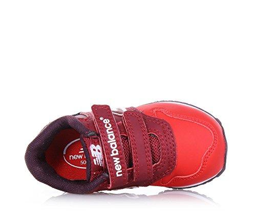 NEW BALANCE - Roter Sportschuh, aus Leder und Stoff, mit Klettverschluss, seitlich und hinten ein Logo, sichtbare Nähte und Gummisohle, Mädchen