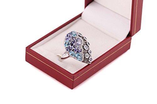 Neerupam collection 925 sterling silver natural Tanzenite Swiss blue topaz gemstone studded designer ring jewelry for women and girls by Neerupam Collection (Image #3)