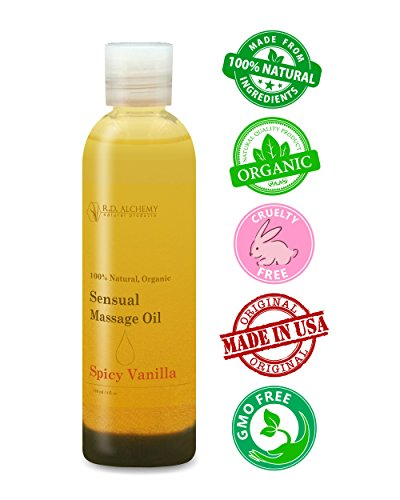 100% Natural & Organic, Edible Massage Oil for Body. Essential oils perfect for couples. Erotic flavor: Spicy Vanilla - sends the right message.
