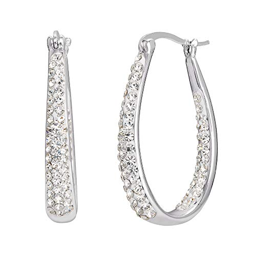 Crystalogy Silver Plated Crystal Inside Out Oval Shape Hoop Earrings, 1.2 Inch (More Colors Available) (Inside Out Clear)