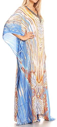 con in lungo Sakkas strass Design copertura bianco vestito 17192 Flowy collo Turco caftan su V Anahi qPUwpHxP4