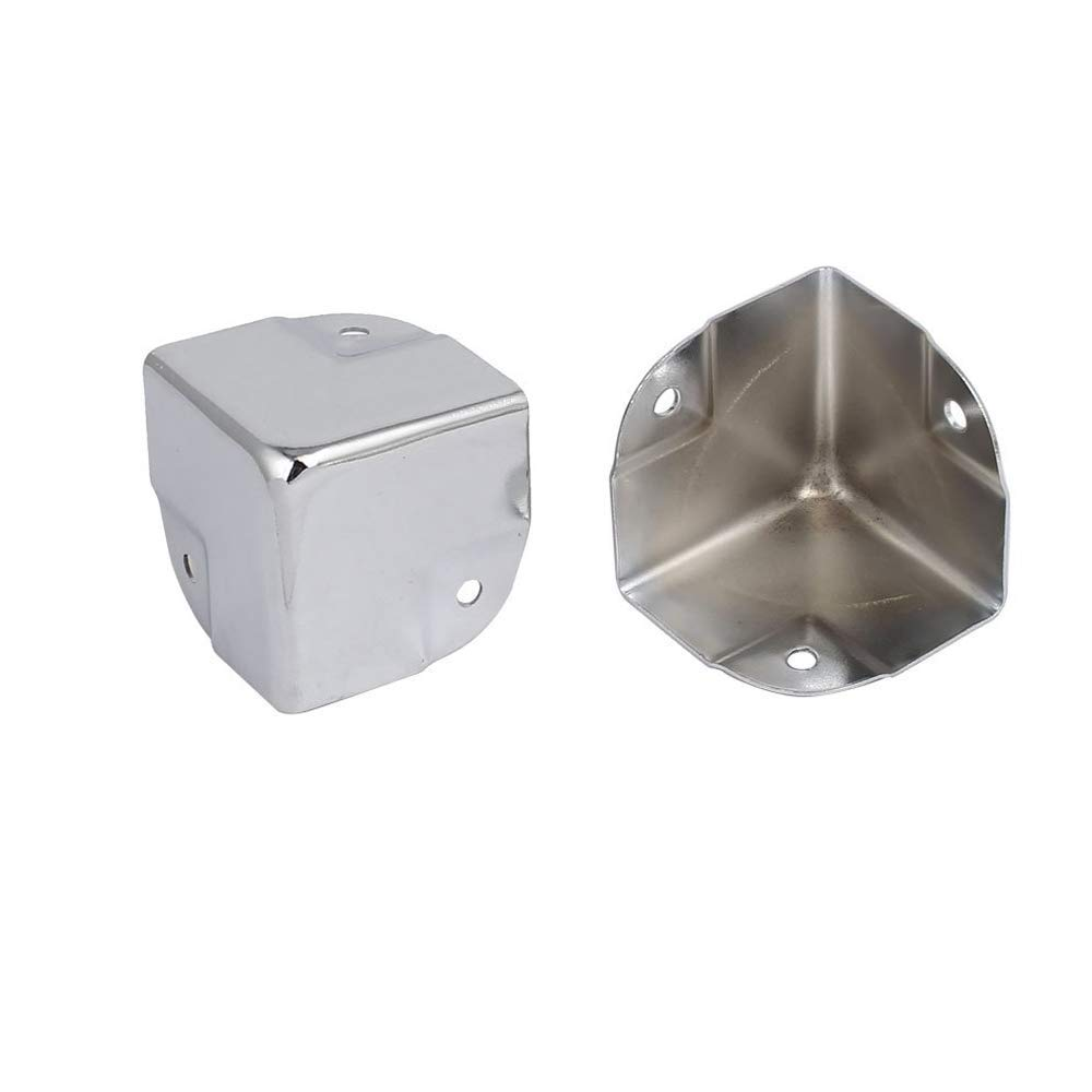 Wohlstand Esquinas de /ángulo Protectores,Protectores de la Esquina del /ángulo de la Esquina del Metal,para el Cofre de Madera Flightcase del Cofre de la Caja del Tronco-12 Piezas Plata