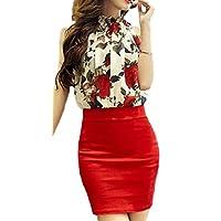 (アリルチョウ) セクシー ワンピース ミニ タイト キャバ ドレス ペプラム シースルー 花柄 ノースリーブ レディース