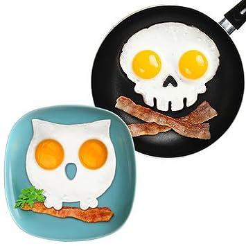 Juego de 2 moldes para hornear huevos fritos en forma de calavera y búho para desayuno, kit de cocina: Amazon.es: Hogar