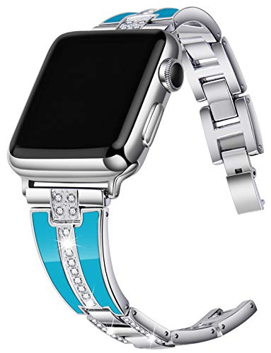 JSGJMY Bling Bands Compatible with Apple Watch Band 38mm 40mm 42mm 44mm with Case,Women Diamond Rhinestone Metal Jewelry Wristband Strap for iwatch Series 5/4/3/2/1 (Silver+Peacock Blue, 42mm/44mm)