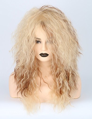 Men or Women 80s Clothes Fashion Wig Rocker Mullet Metal Halloween Costume Wig Blonde Curly by Toposplay (Image #1)