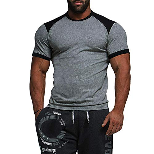 iHPH7 T Shirts for Men Stitching Color Round Neck Short-Sleeved T-Shirt Blouse L Gray]()