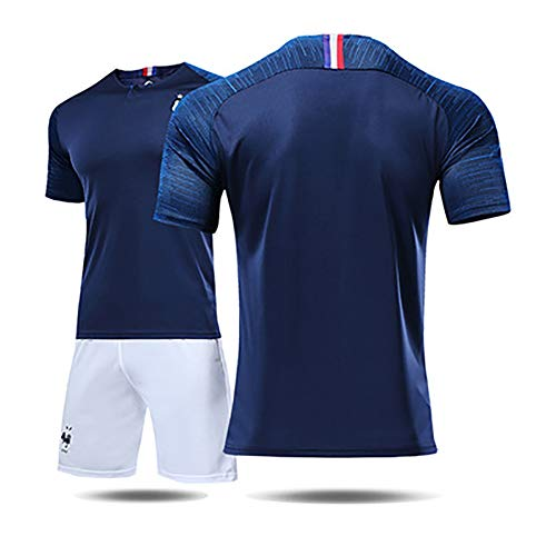 French Jersey Men's and Women's Suits 2018 World Cup 2 Stars 10 Mbape 7 Grizzmann Football Uniform.-4-L ()