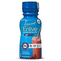 Agite el batido Enlive Advanced Nutrition con 20 gramos de proteína, batidos de reemplazo de comidas, fresa, 8 fl oz, 16 unidades