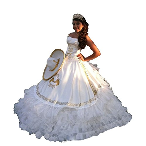 Angela Women's Embroidery Long Ball Gown Quinceanera Dresses With Jacket White 12